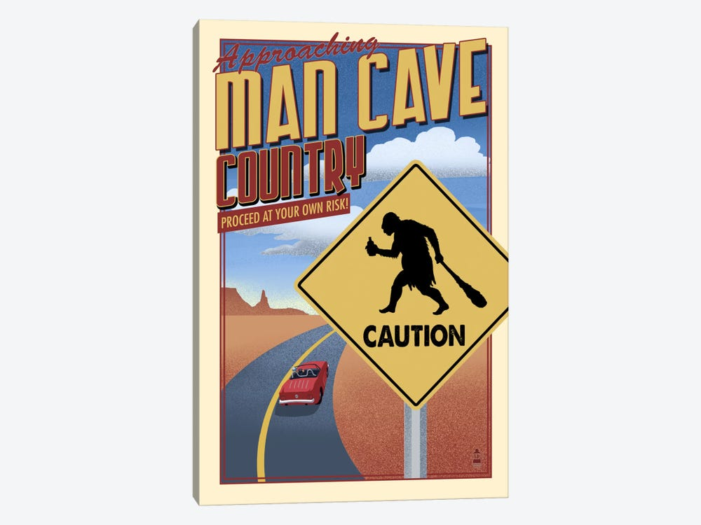 Approaching Man Cave Country by Lantern Press 1-piece Art Print