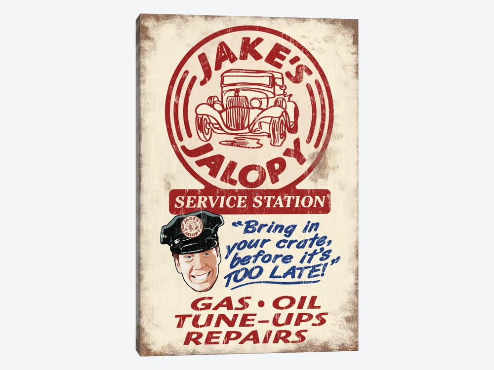 Jake's Jalopy Service Station 1-piece Canvas Art Print