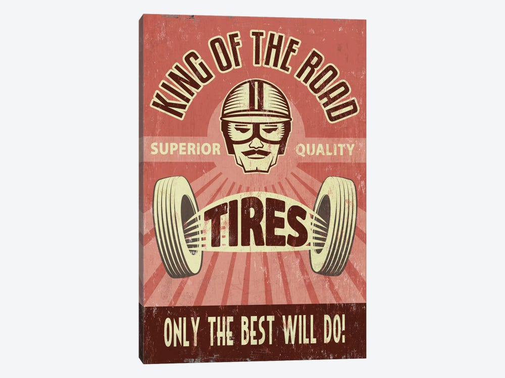 King Of The Road Tires by Lantern Press 1-piece Canvas Print