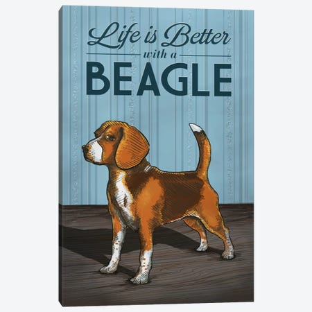 Life Is Better With A Beagle Canvas Print #LAN37} by Lantern Press Canvas Art Print