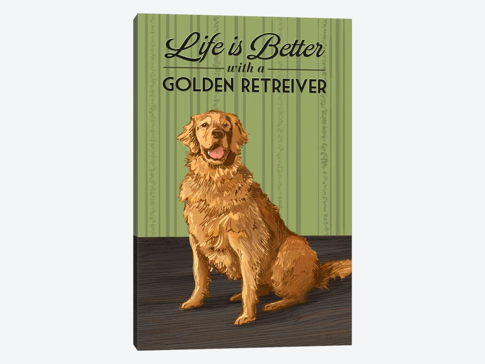 Life Is Better With A Golden Retriever by Lantern Press 1-piece Canvas Wall Art