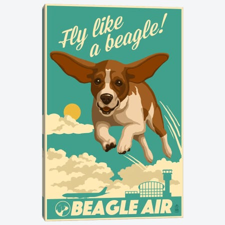 Beagle Air Canvas Print #LAN3} by Lantern Press Canvas Artwork