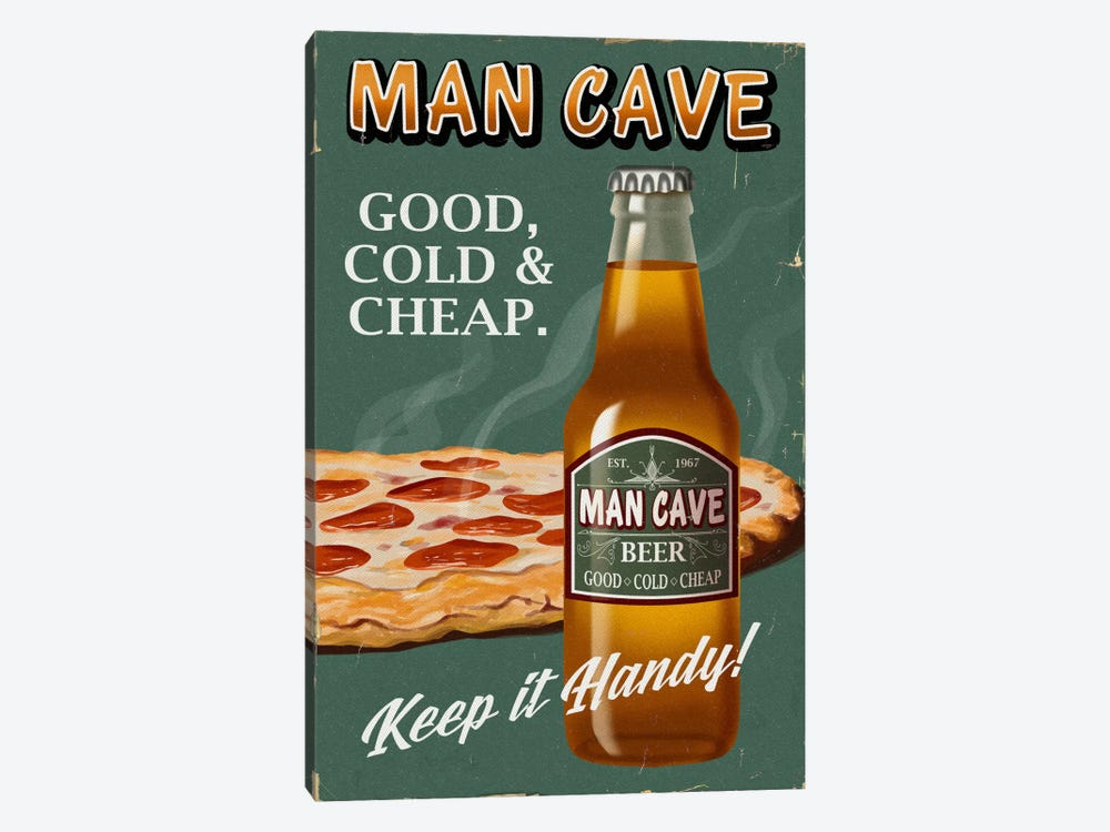 Man Cave Beer by Lantern Press 1-piece Canvas Print