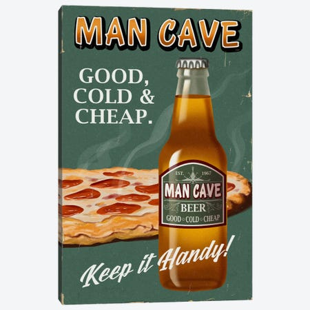 Man Cave Beer 3-Piece Canvas #LAN40} by Lantern Press Canvas Print