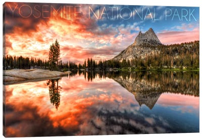 Yosemite National Park (Upper Cathedral Lake) by Lantern Press Canvas Art Print