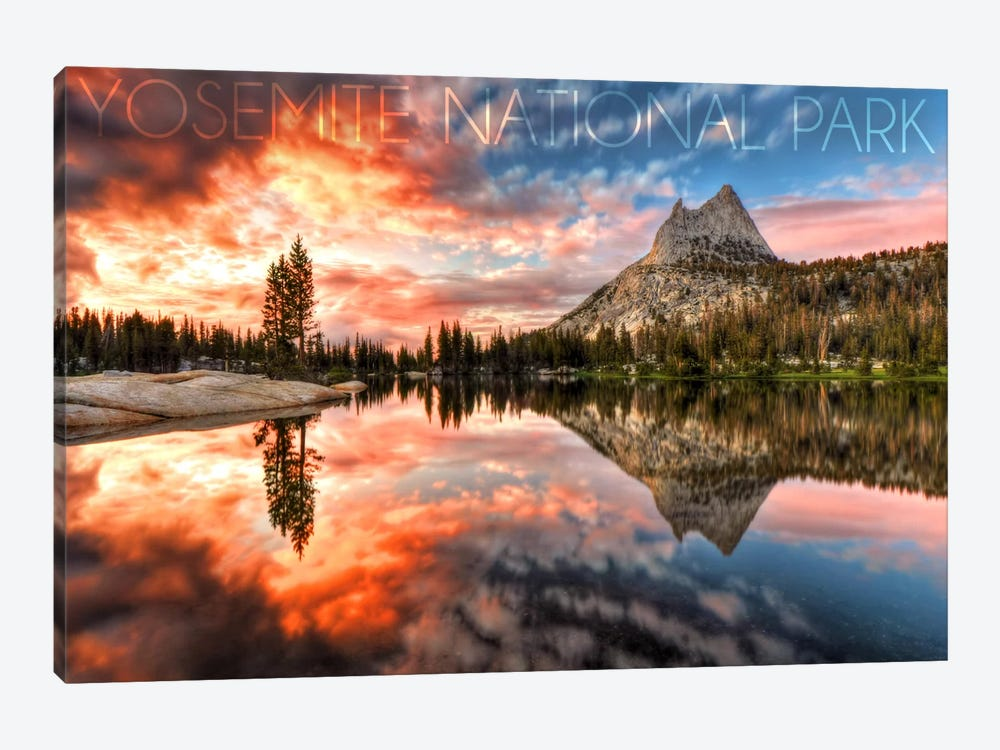 Yosemite National Park (Upper Cathedral Lake) by Lantern Press 1-piece Canvas Print