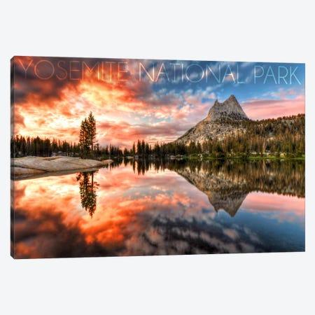 Yosemite National Park (Upper Cathedral Lake) Canvas Print #LAN44} by Lantern Press Canvas Wall Art