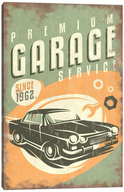 Premium Garage Service Sign Canvas Art Print