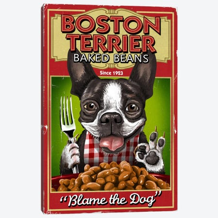 Boston Terrier Baked Beans Canvas Print #LAN4} by Lantern Press Canvas Art Print