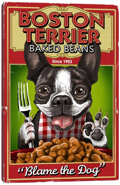 Boston Terrier Baked Beans Canvas Art Print