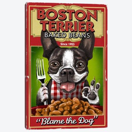 Boston Terrier Baked Beans Canvas Print #LAN4} by Lantern Press Canvas Art Print