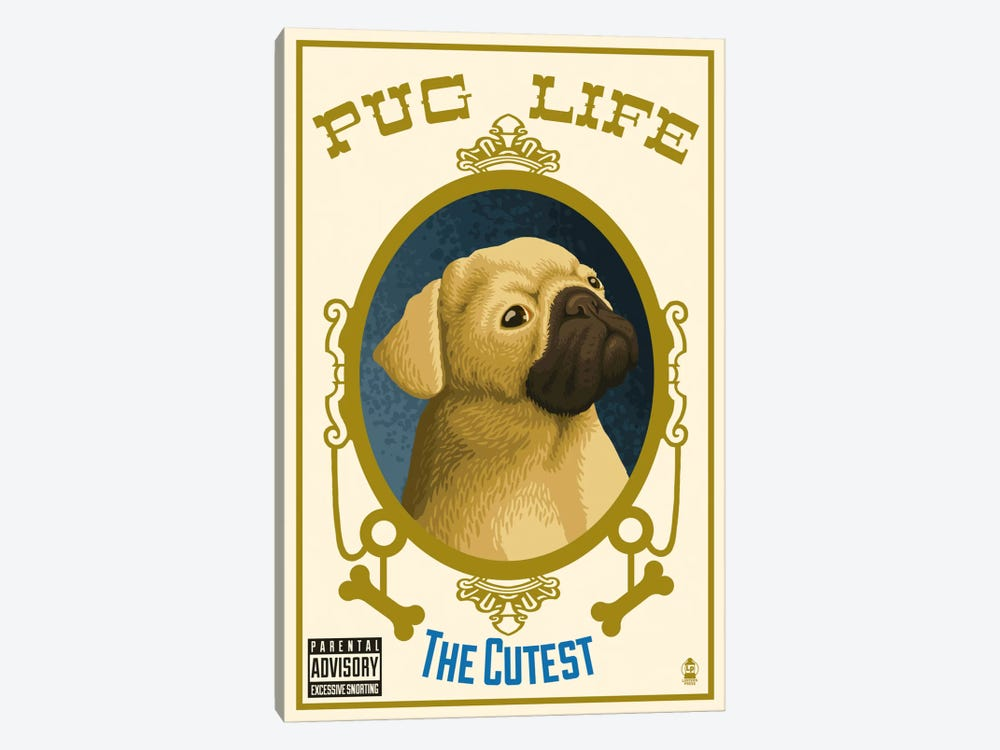 Pug Life Album Cover by Lantern Press 1-piece Canvas Wall Art
