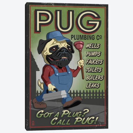 Pug Plumbing Co. Canvas Print #LAN51} by Lantern Press Canvas Artwork