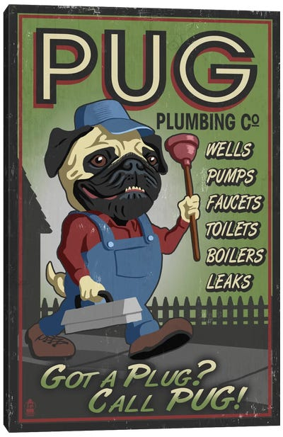 Pug Plumbing Co. Canvas Print #LAN51
