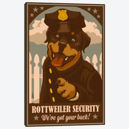 Rottweiler Security Canvas Print #LAN53} by Lantern Press Canvas Art