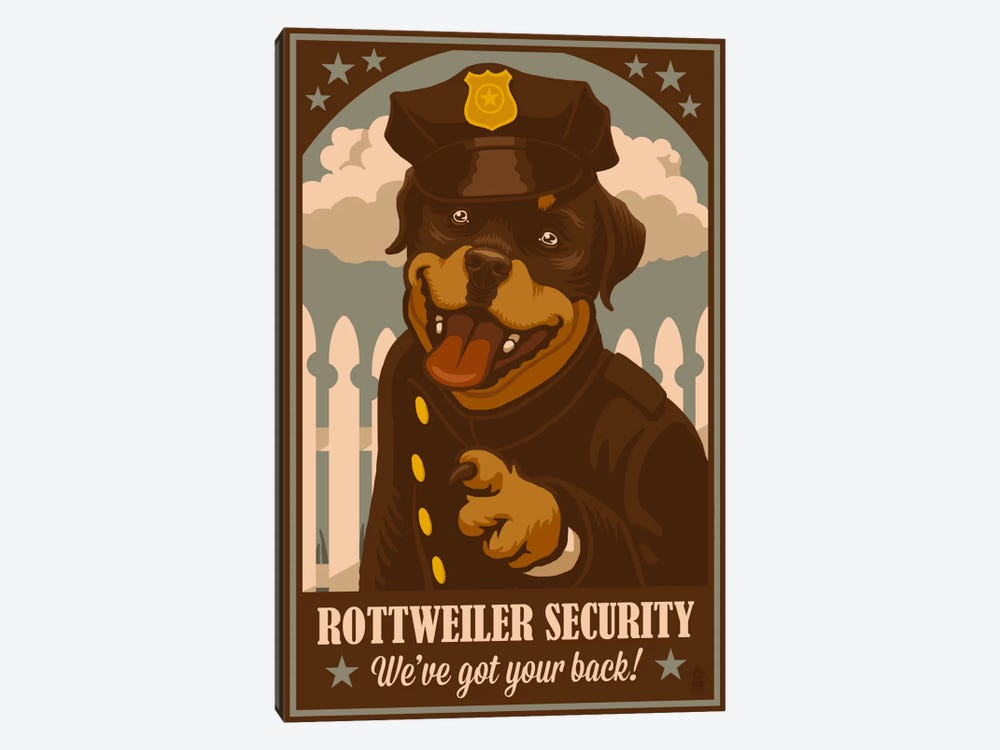 Rottweiler Security by Lantern Press 1-piece Canvas Print