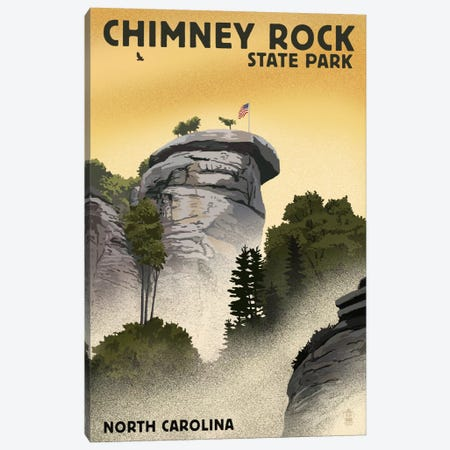 North Carolina - Chimney Rock State Park (Chimney Rock)  Canvas Print #LAN55} by Lantern Press Art Print