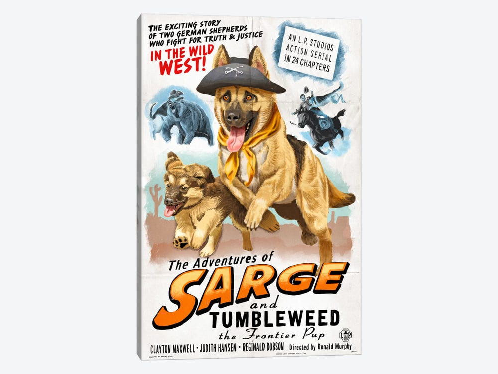 The Adventures Of Sarge And Tumbleweed The Frontier Pup Film Poster by Lantern Press 1-piece Canvas Print