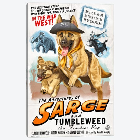 The Adventures Of Sarge And Tumbleweed The Frontier Pup Film Poster Canvas Print #LAN57} by Lantern Press Art Print