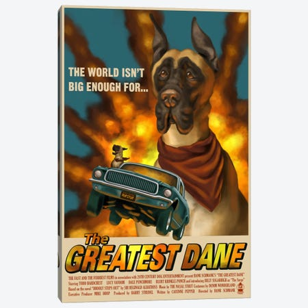The Greatest Dane Film Poster Canvas Print #LAN58} by Lantern Press Canvas Wall Art