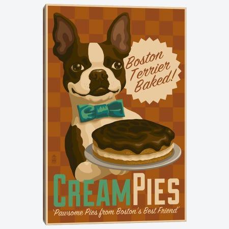 Boston Terrier Cream Pies Canvas Print #LAN5} by Lantern Press Art Print