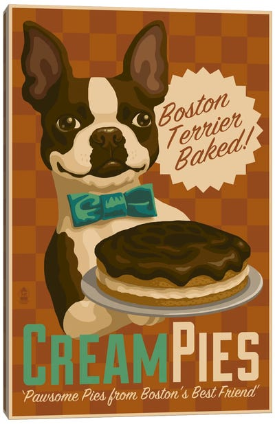 Boston Terrier Cream Pies Canvas Art Print