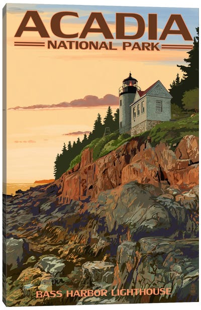 Acadia National Park (Bass Harbor Head Lighthouse) by Lantern Press Canvas Art Print