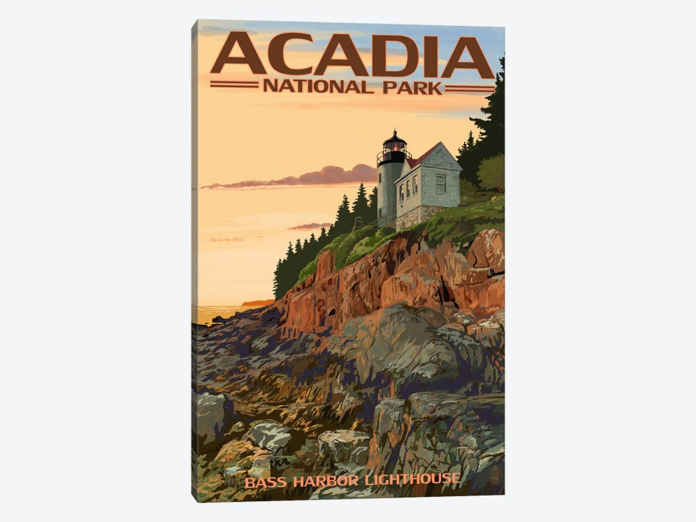 Acadia National Park (Bass Harbor Head Lighthouse) by Lantern Press 1-piece Canvas Art Print
