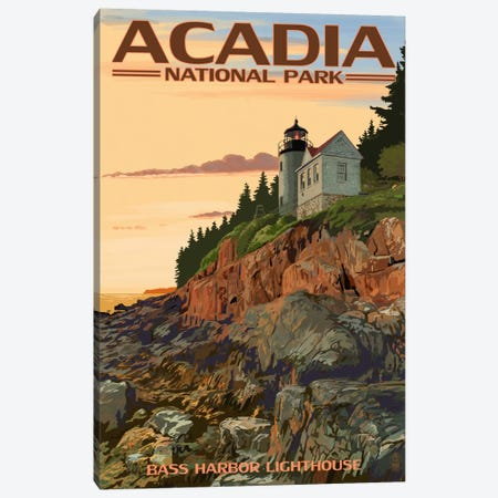Acadia National Park (Bass Harbor Head Lighthouse) Canvas Print #LAN60} by Lantern Press Canvas Print