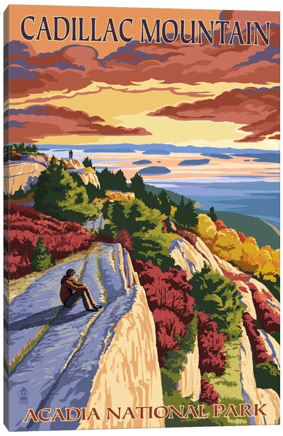 Acadia National Park (Cadillac Mountain) by Lantern Press Canvas Art Print