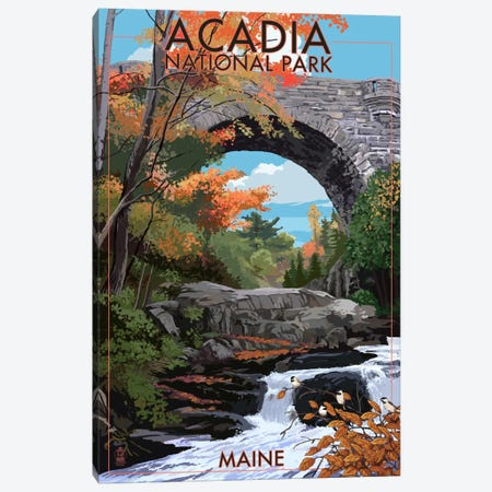 Acadia National Park (Stone Bridge) Canvas Print #LAN63} by Lantern Press Canvas Art Print