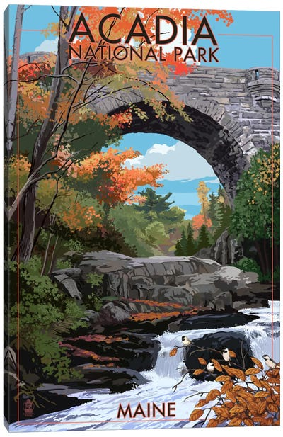 Acadia National Park (Stone Bridge) by Lantern Press Canvas Art Print