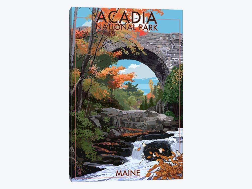 Acadia National Park (Stone Bridge) by Lantern Press 1-piece Canvas Art