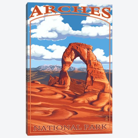 Arches National Park (Delicate Arch) Canvas Print #LAN65} by Lantern Press Canvas Art