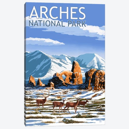 Arches National Park (Turret Arch) Canvas Print #LAN66} by Lantern Press Canvas Art