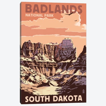 Badlands National Park (Castle Rock) Canvas Print #LAN68} by Lantern Press Art Print