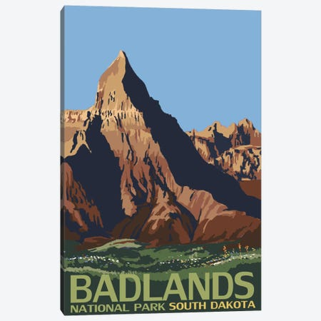 Badlands National Park (Geologic Formation) Canvas Print #LAN69} by Lantern Press Art Print