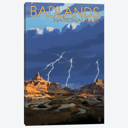 Badlands National Park (Lightning Storm) Canvas Print #LAN70} by Lantern Press Canvas Wall Art
