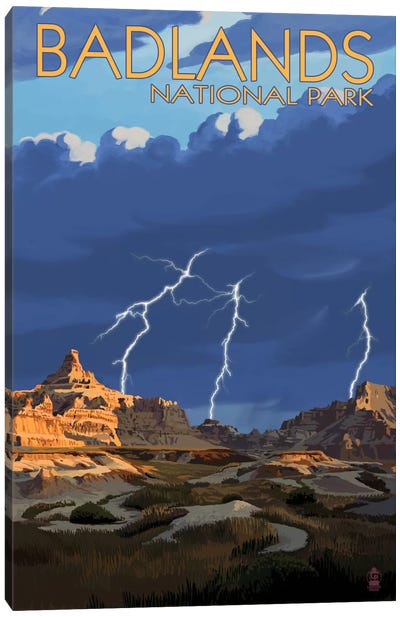 Badlands National Park (Lightning Storm) by Lantern Press Canvas Art Print