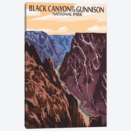 Black Canyon Of The Gunnison National Park (Gunnison River) Canvas Print #LAN72} by Lantern Press Canvas Wall Art