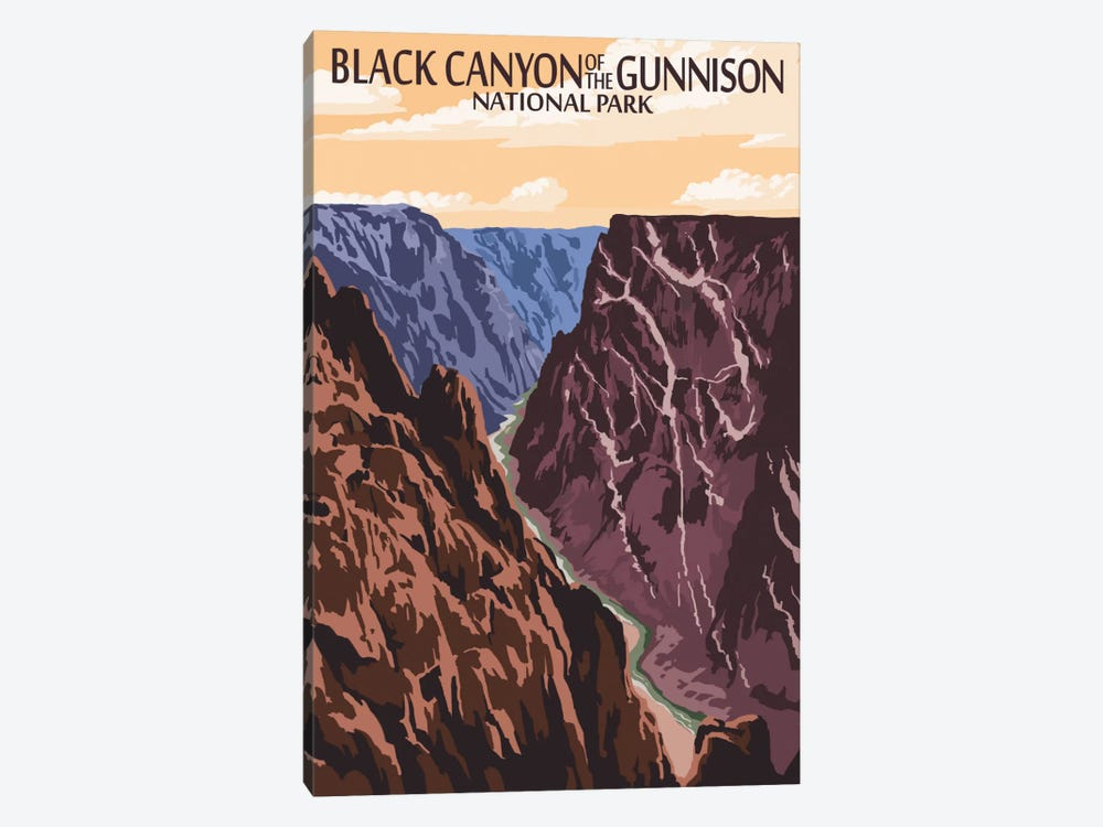Black Canyon Of The Gunnison National Park (Gunnison River) by Lantern Press 1-piece Canvas Wall Art