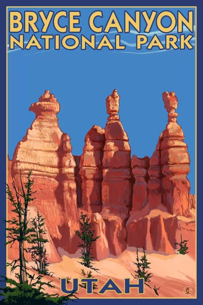 Bryce Canyon National Park Three Hoodoos In S