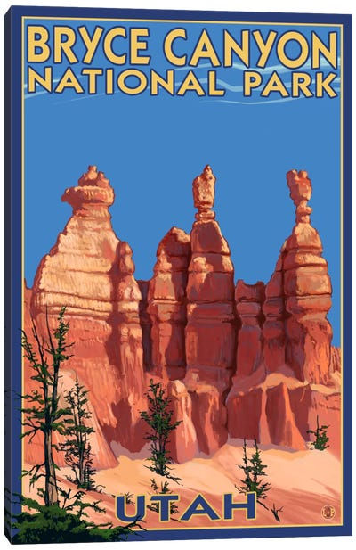 Bryce Canyon National Park (Three Hoodoos In Summer) by Lantern Press Canvas Art Print