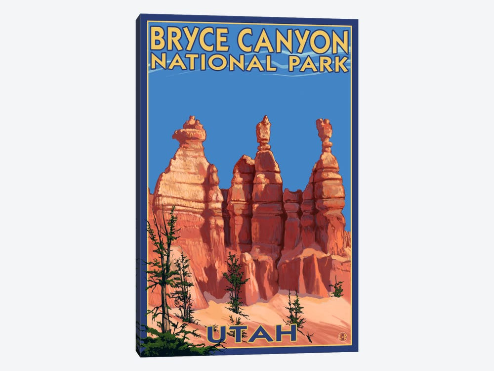 Bryce Canyon National Park (Three Hoodoos In Summer) by Lantern Press 1-piece Canvas Print