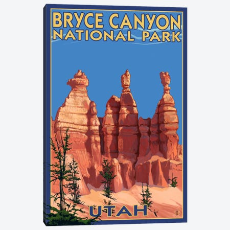 Bryce Canyon National Park (Three Hoodoos In Summer) Canvas Print #LAN73} by Lantern Press Canvas Art