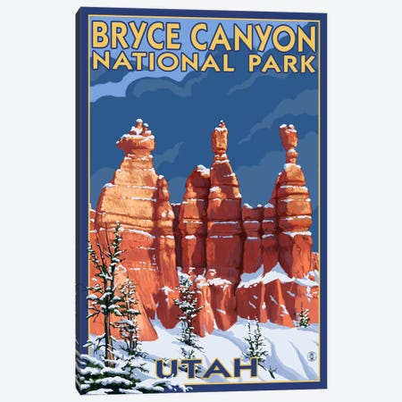 Bryce Canyon National Park (Three Hoodoos In Winter) Canvas Print #LAN74} by Lantern Press Art Print
