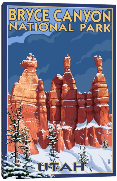 Bryce Canyon National Park (Three Hoodoos In Winter) Canvas Art Print