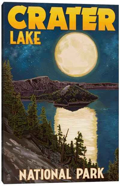 Crater Lake National Park (Full Moon Over Crater Lake) Canvas Art Print