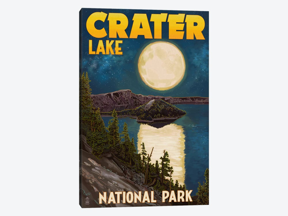 Crater Lake National Park (Full Moon Over Crater Lake) by Lantern Press 1-piece Art Print