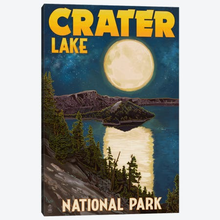 Crater Lake National Park (Full Moon Over Crater Lake) Canvas Print #LAN75} by Lantern Press Art Print